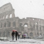 Snow Damages Rome's Historic Attraction